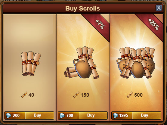 Цена свитков в бриллиантах